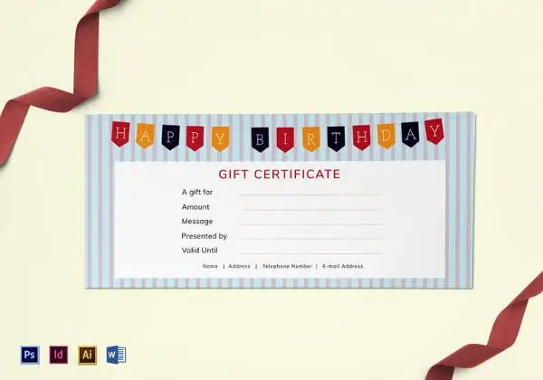 Blank Gift Certificate Template   31  Examples in PDF  Word   Free     Editable Happy Birthday Gift Certificate Template