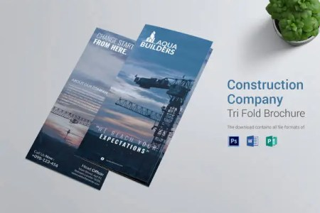 25  Word Tri Fold Brochure Templates Free Download   Free   Premium     Construction Company Tri Fold Brochure Template