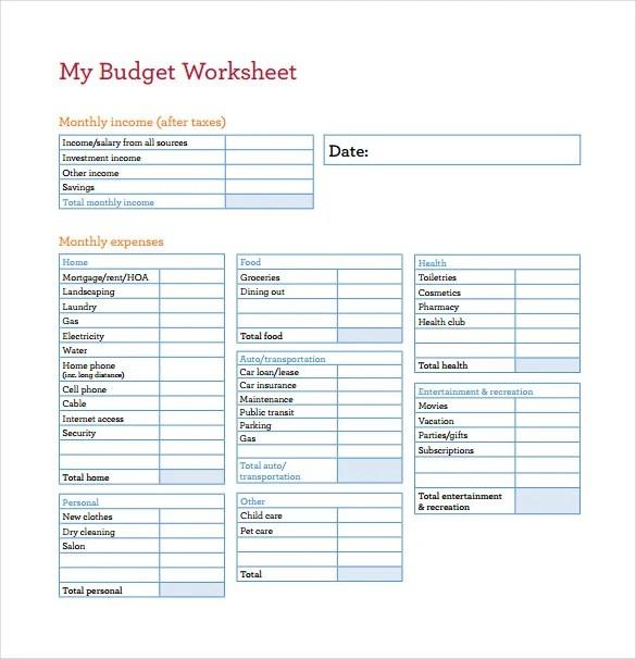 Printable Budget Easy Worksheet