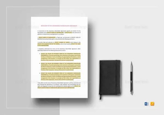 13  Shareholder Agreement Templates     Free Sample  Example  Format     Adhesion to the Unanimous Shareholder Agreement Template