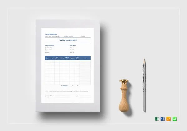 20  Contractor Timesheet Templates     Free Sample  Example Format     sample contractor timesheet template