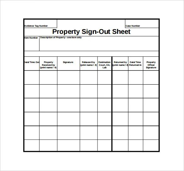 Examples Inventory Sheets