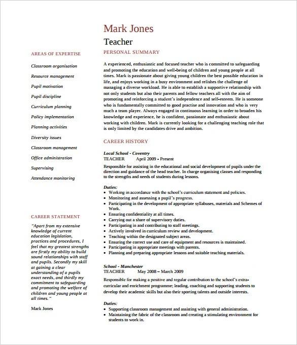 Preschool Teacher Resume Template