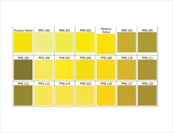 15  Word Pantone Color Chart Templates Free Download   Free     yellow pantone color chart