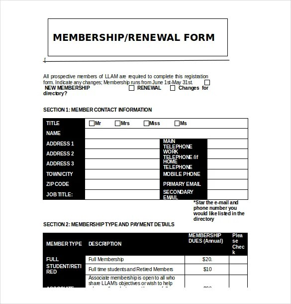 15+ Membership Application Templates – Free Sample ...