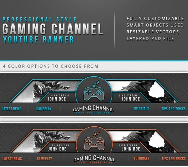 YouTube Banner Templates     21  Free PSD  AI  Vector EPS Format     Professional Styled Gaming Channel Youtube Banner Template Background