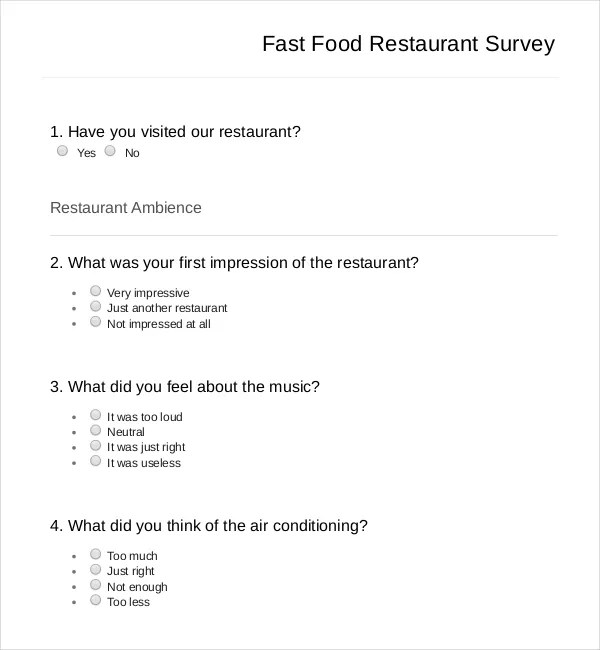 Fast Food Restaurants Questions