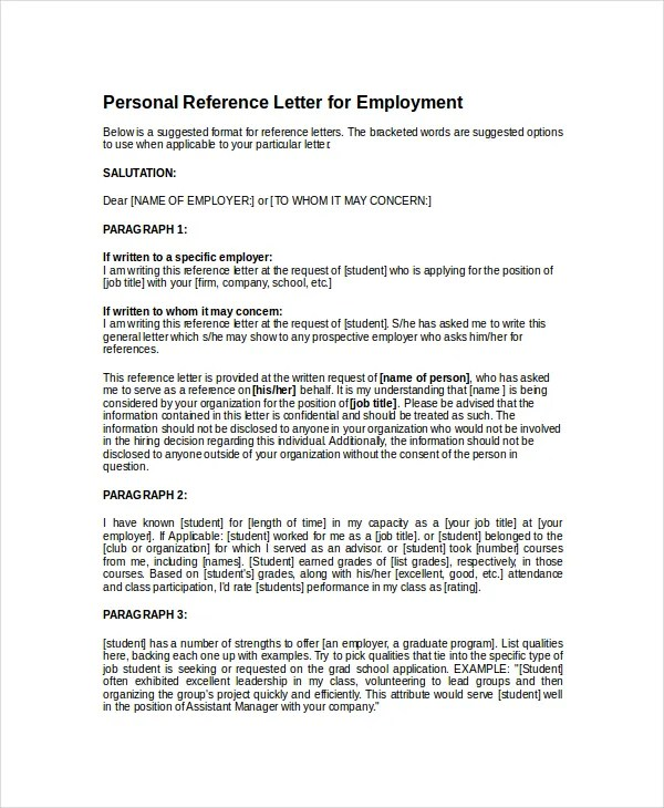 Personal Reference Letter Samples