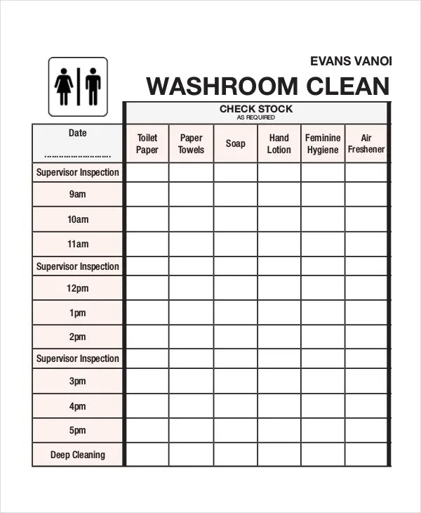 Daily Restroom Cleaning Checklist Template
