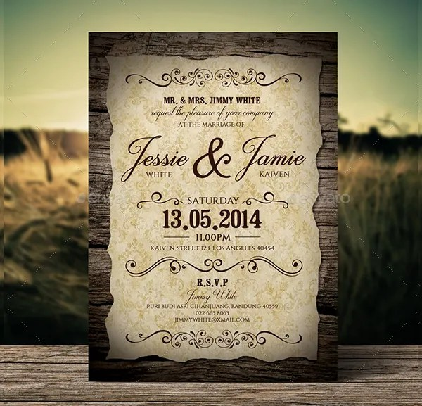 Country Floral Wedding Invitations