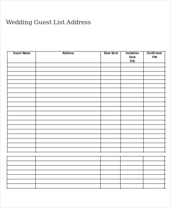 Printable Invite List