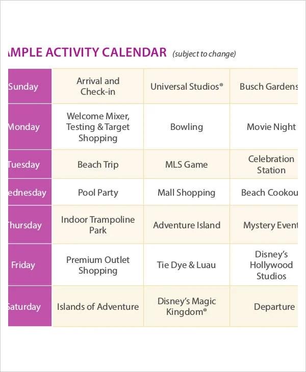 Activity Calendar Template 12 Free Pdf Docs Word