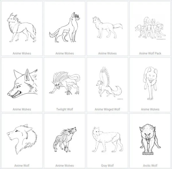 anime wolf coloring pages # 10