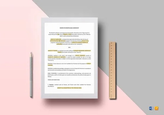 Tenancy Agreement Template   16  Free Word  PDF Documents Download     Month to Month Lease Agreement Template in Word