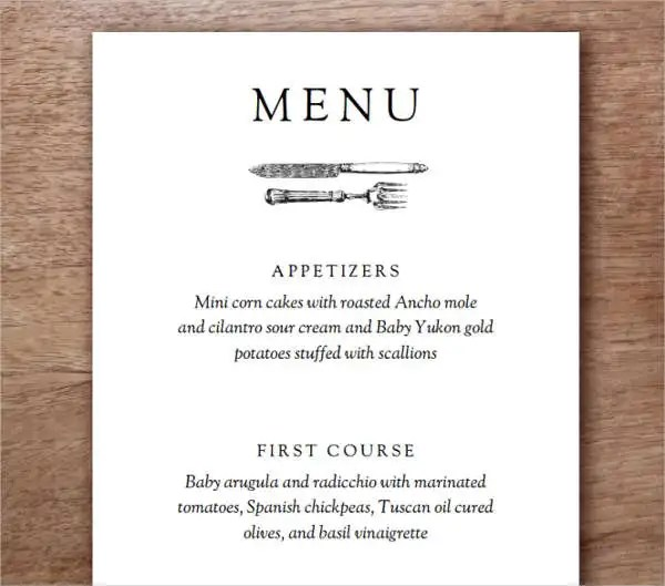 Dinner Party Menu Template  StaruptalentCom