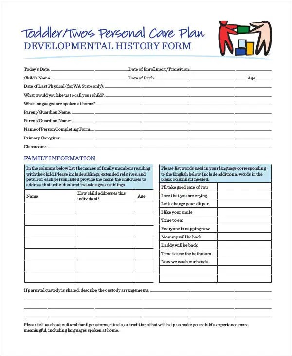 Personal Care Home Forms