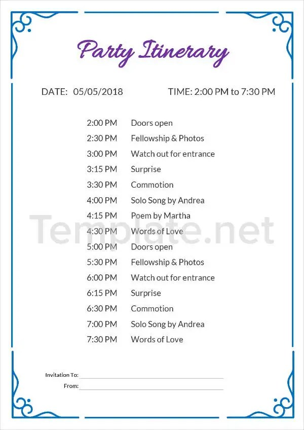 Itinerary Template Party Birthday
