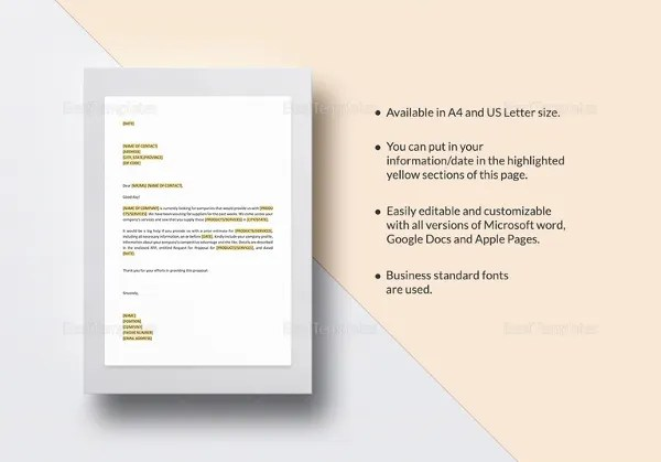 11 Request For Proposal Templates   Free Sample  Example Format     Request for Proposal Template