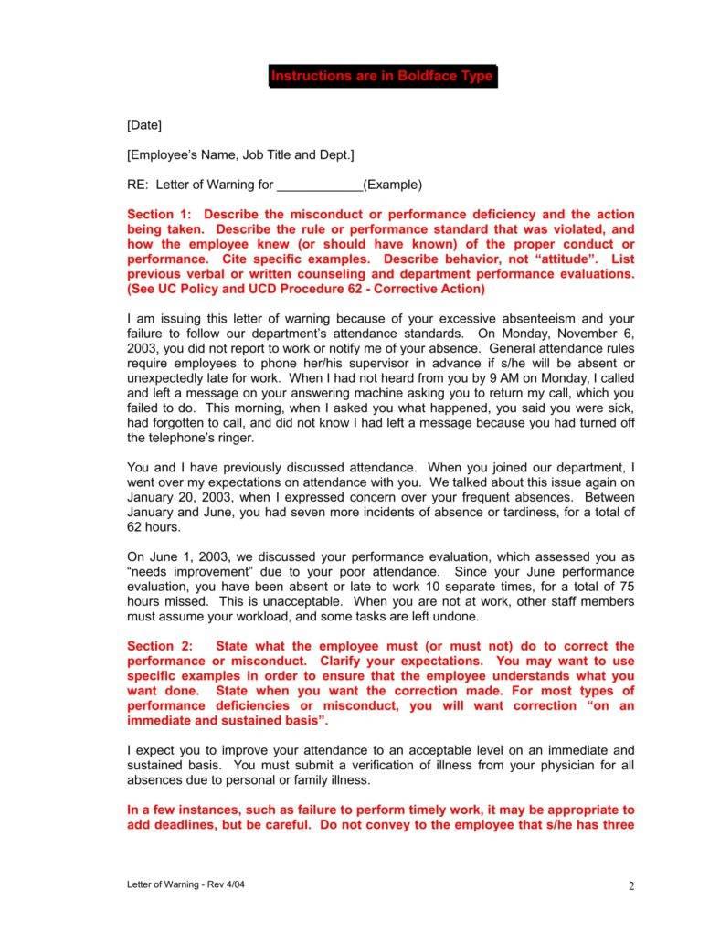 Sample warning letter for employee misconduct lvelegant work warning letter for attendance altavistaventures Choice Image