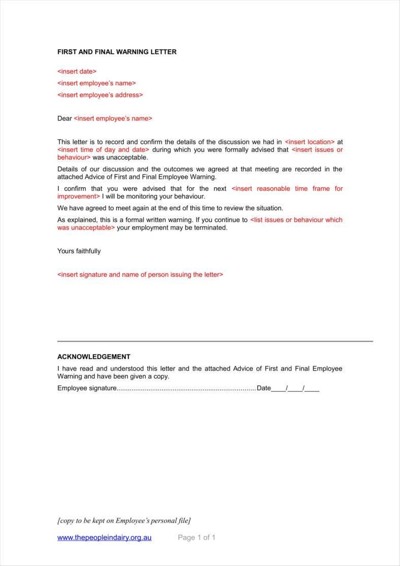 warning letter template