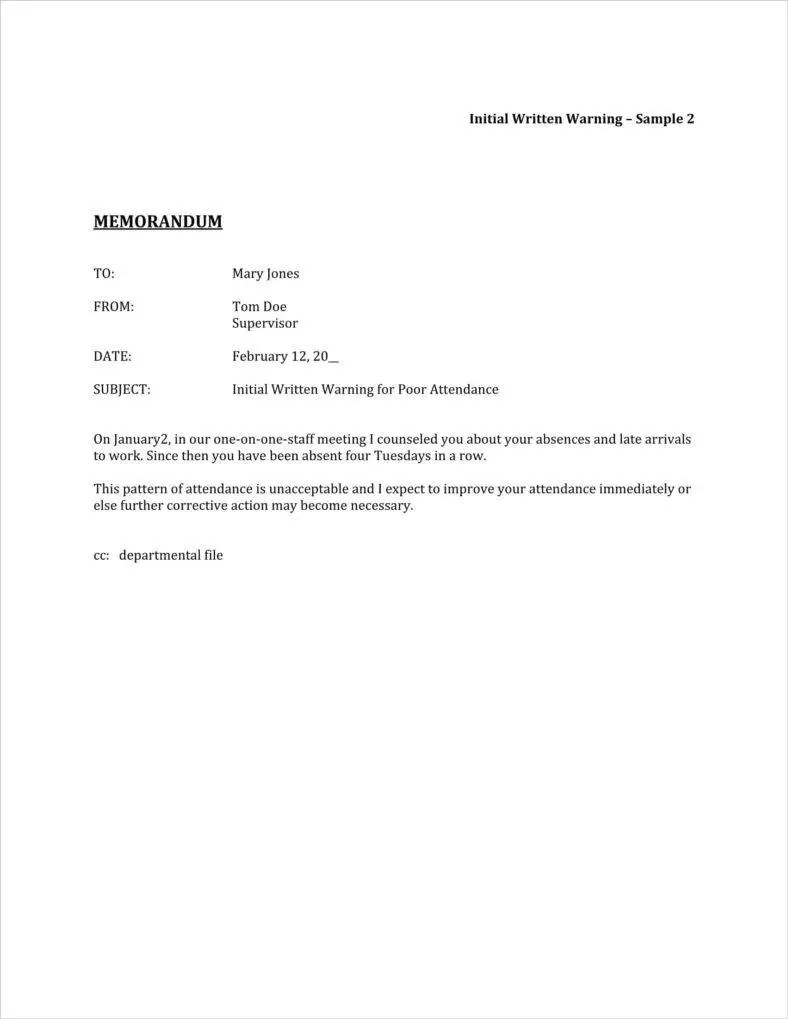 absence warning letter template ex le