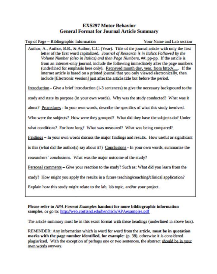 apa format summary paper