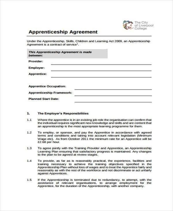 Tattoo Sample Apprenticeship Contract
