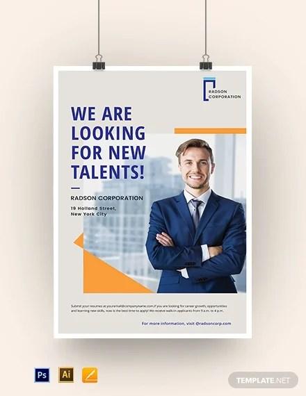 10 Recruitment Business Poster Templates Illustrator