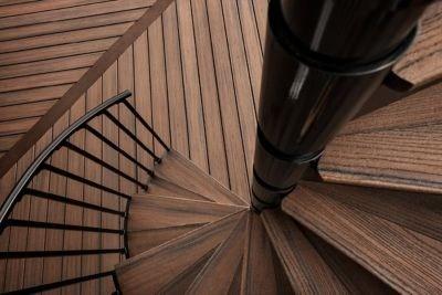 Trex Transcend Decking Spiral Stairs Spiced R*M Trex | Trex Transcend Stair Railing | Fascia | Lantern | Curved | Backyard | Premade Prefab Deck