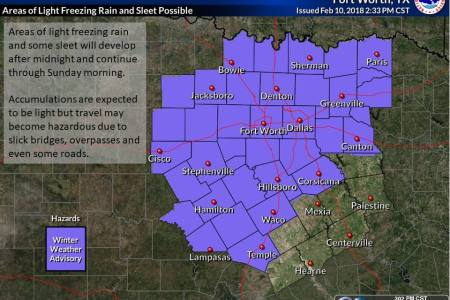 Possible Winter Weather In Dallas Ft  Worth   KSCS FM Areas of light freezing rain and some sleet are expected to develop in  these locations which could cause icy conditions on bridges  overpasses and  even some