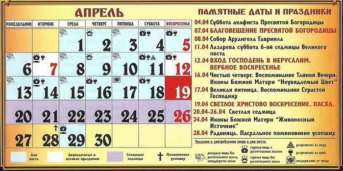 Церковний календар на квітень 2020 / vedmochka.net
