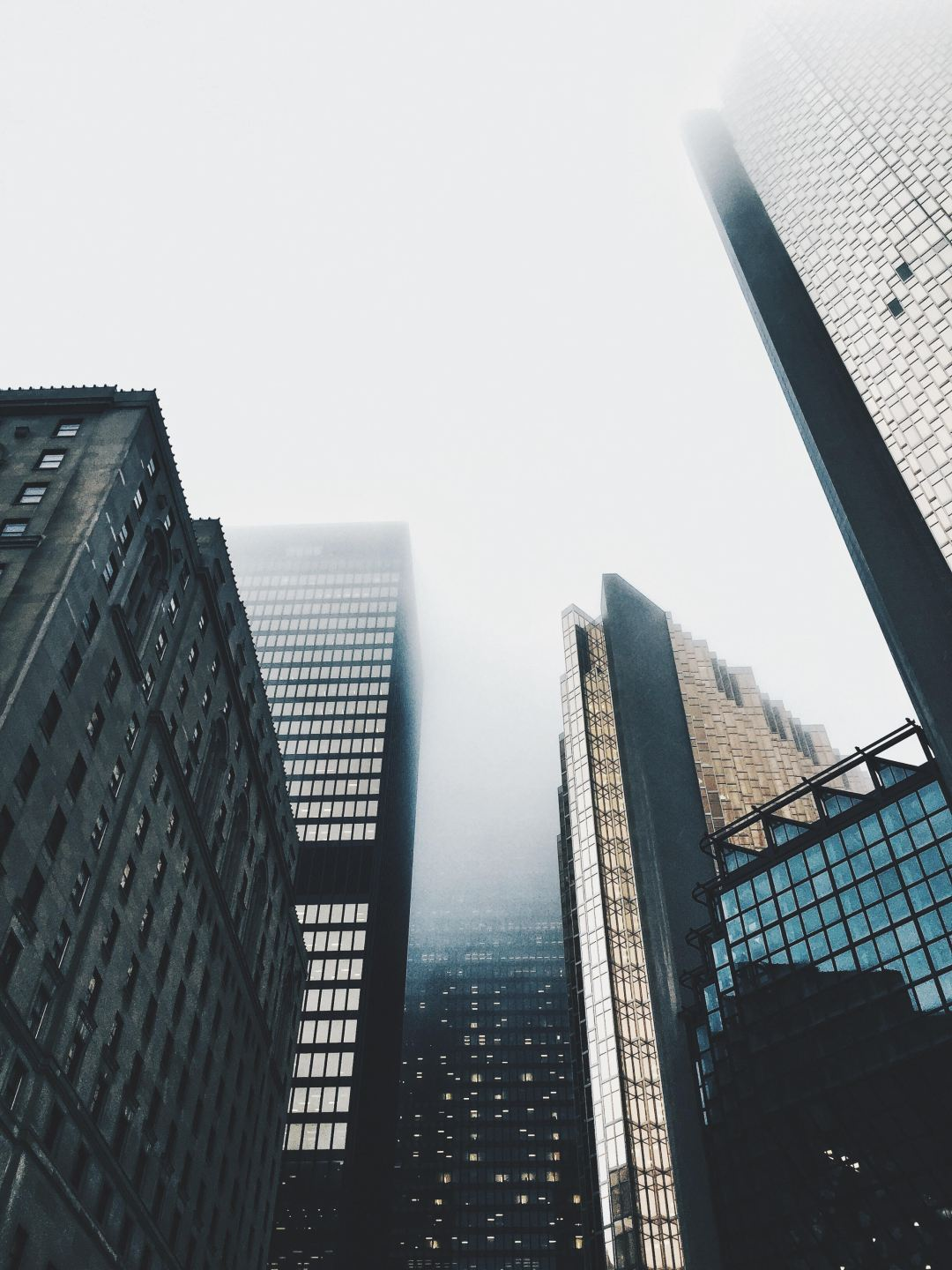 High Rise Buildings Covered With Fog Photo Free City