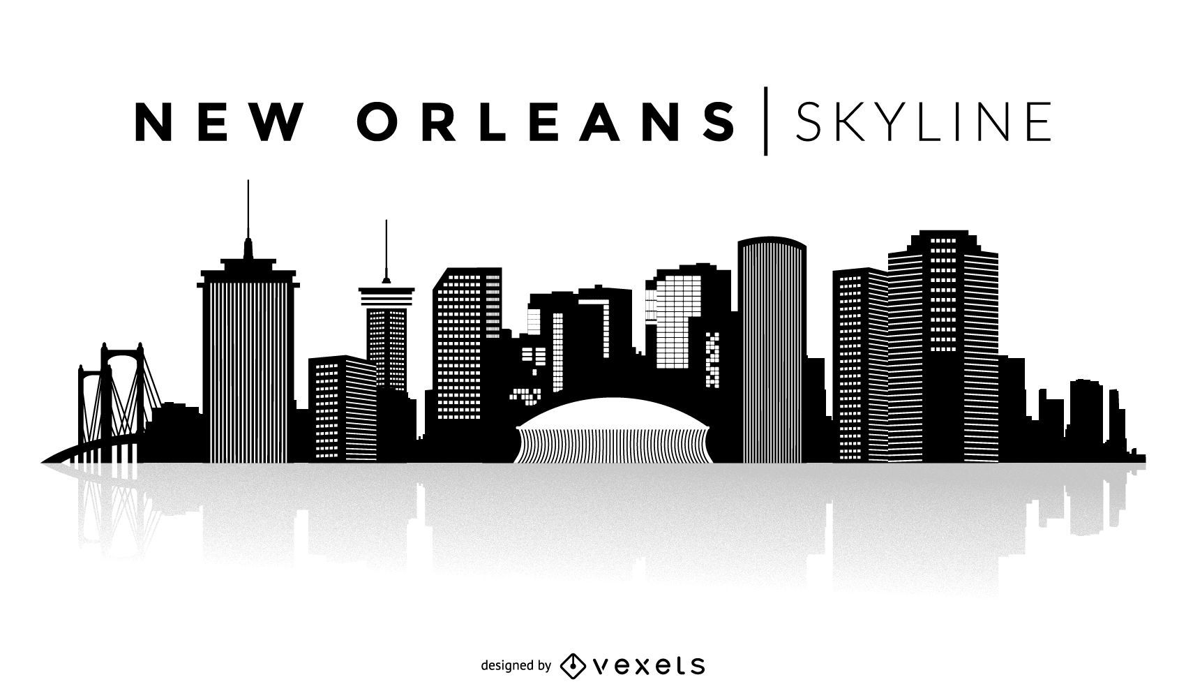 New Orleans silhouette skyline - Vector download