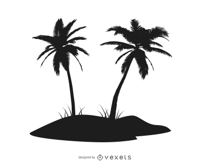 Silhouette Palm Tree Island - Vector download