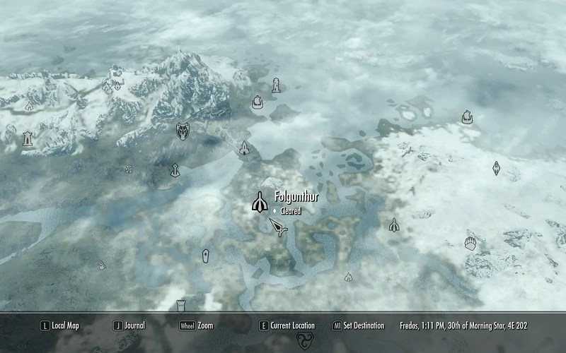Skyrim Map Bloodskal Barrow Location