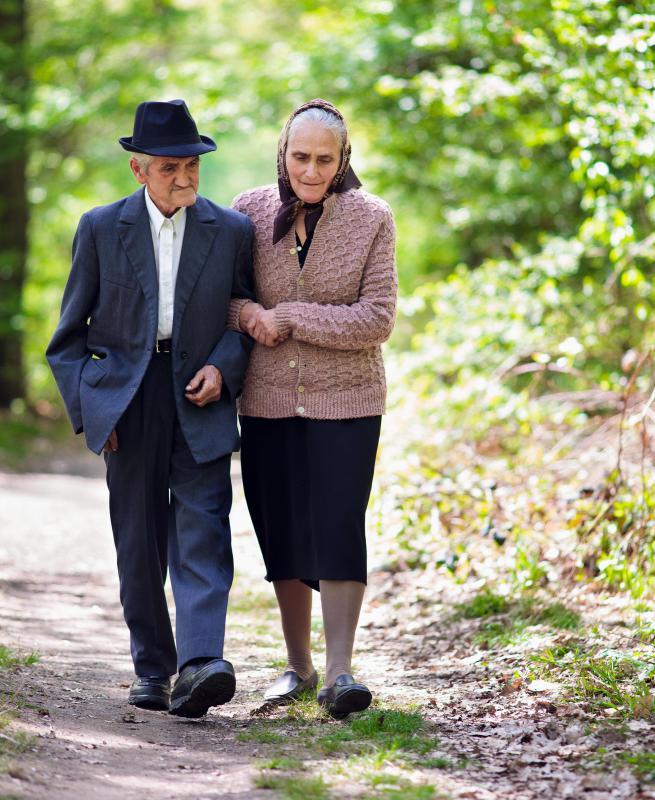 Active Senior Citizens Walking