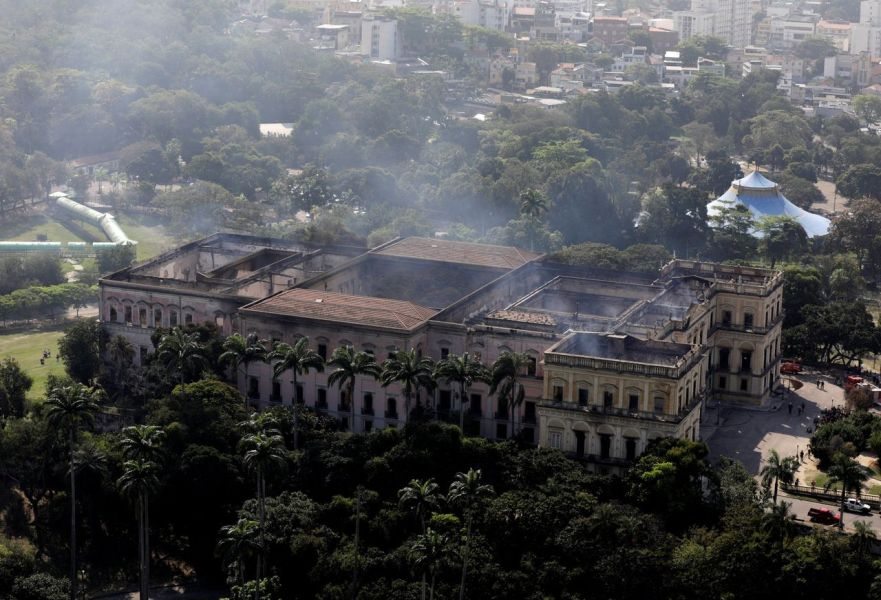 Fire Engulfs Major Brazilian Museum   WSJ An aerial view of the National Museum of Brazil a day after a massive  overnight fire