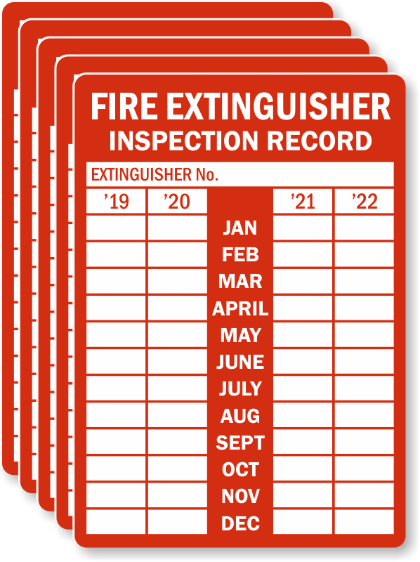 4/5 Year Record Fire Extinguisher Tags