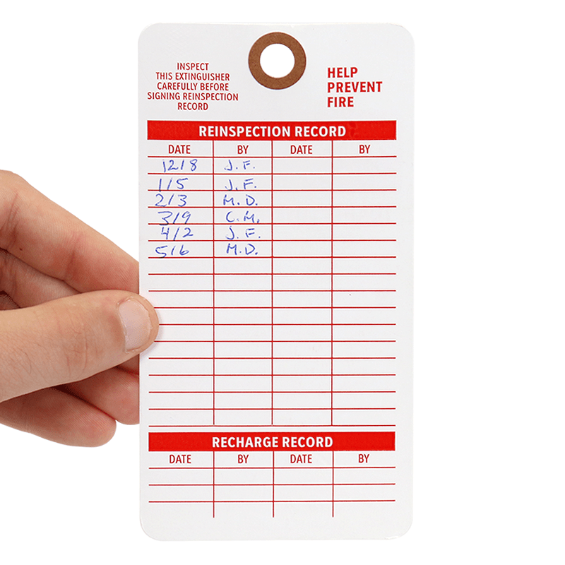 Fire Extinguisher Recharge Cardstock Tag, SKU - T343-C-100