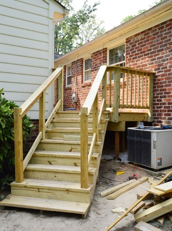 How To Build A Deck It S Done Young House Love   Installing Deck Stair Railing   Porch   Composite Decking   Stair Treads   Baluster   Railing Kit