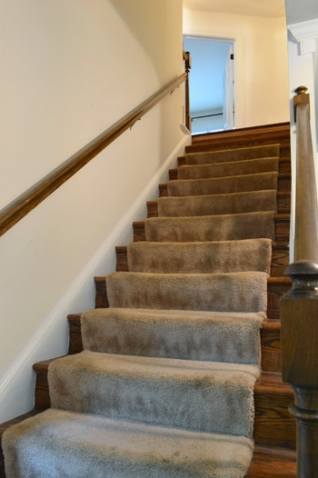 Removing Old Stair Carpet And 600 Staples Young House Love   Carpet In Middle Of Stairs   Exposed Tread   Hardwood   Wood   Victorian   Popular