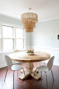How To Replace Fluorescent Lighting With A Pendant Fixture   Young     As for how we knew what height to hang it  we just googled and read that  around 30 32    is standard for a large pendant over a table  so we went with  31
