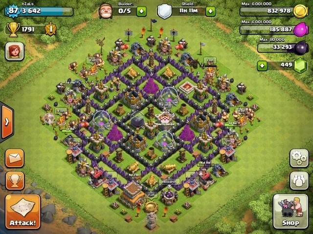 Best Hall Hidden 7 Base Clash Tesla Town Clans No