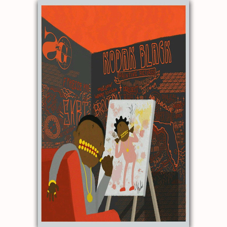 58278 Kodak Black Painting 2017 Rap Music Album Decor Wall Print     58278 Kodak Black Painting 2017 Rap Music Album
