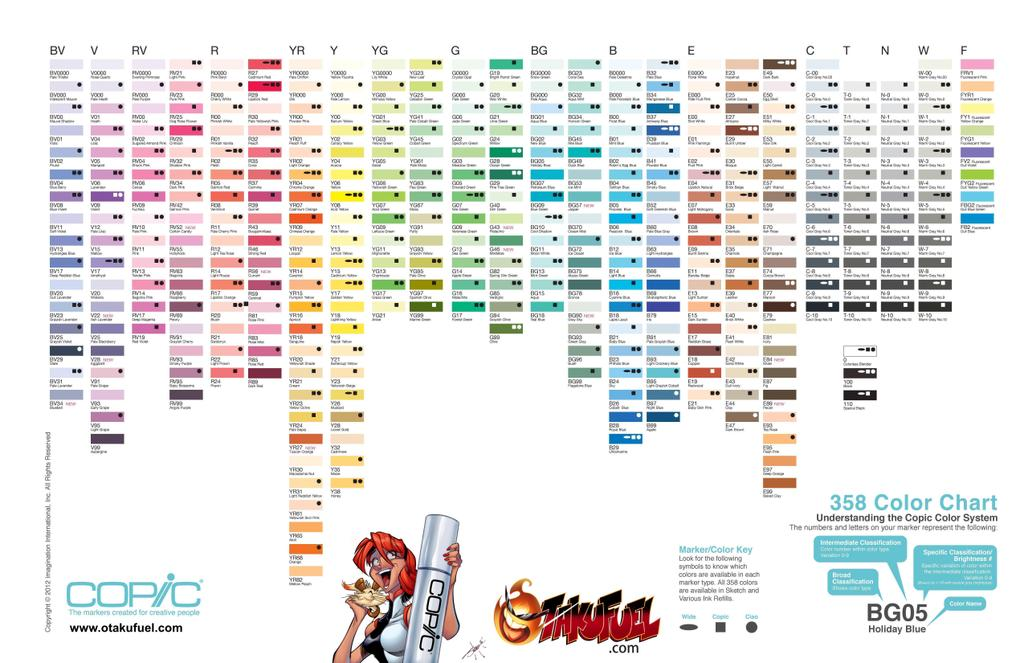 Copic Sketch Blank Color Chart