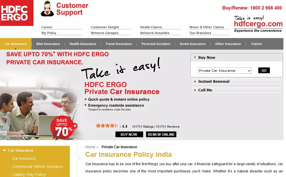 Car Insurance Hdfc Ergo