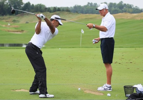 Role of Left Shoulder in the Golf Swing   Woman Tiger Woods turns his left shoulder under his chin