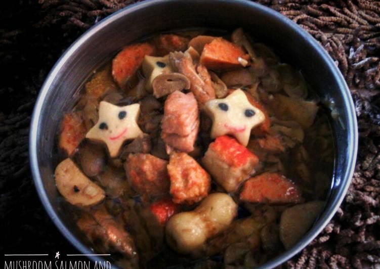 Resep Mushroom salmon and black pepper fish meatballs