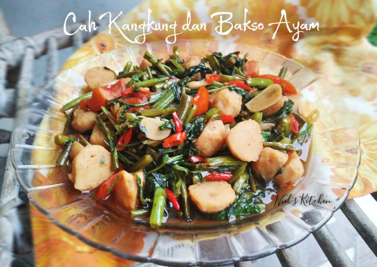 Resep Cah Kangkung dan Bakso Ayam Saus Tiram