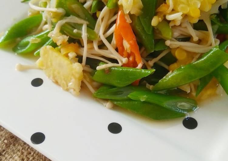Resep Tumis sayur dan jamur enoki